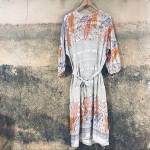 Zanda Rhodes vintage gray silk fall sheer dress